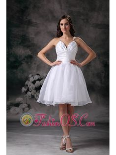 White A-line Halter Short Wedding Dress Organza Ruch Mini-length- $128.89http://www.fashionos.com  http://www.facebook.com/quinceaneradress.fashionos.us  This short dress for prom features a sweetheart neckline and empire waist on the strapless bodice.The bust features multiple tiers and ruching.The short A-line skirt almost resembles a tutu with the layers and layers of tulle used to craft it.