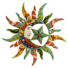 Decmode Metal Sun Wall Decor, Multi Color, Multicolor