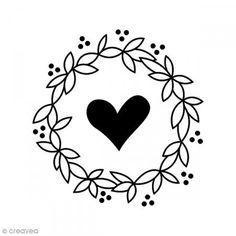 Sello Madera - Corona corazón - 6 x6 cm - Fotografía n°1