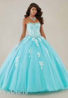 89086 Lace Appliques and Beading on a Tulle Quinceanera Dress