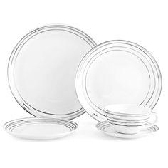 Swirl Platinum 20 Piece Dinnerware Set