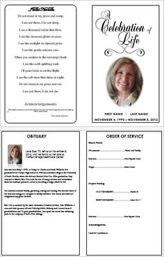 'Celebration of Life' Traditional Single-Bi Fold Funeral Program Template. More Printable Funeral Program Templates for…