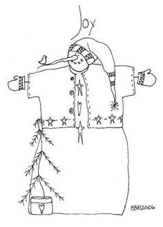 Free Primitive Winter Embroidery patterns! by Carol Mavity