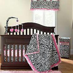 Zebra print crib set