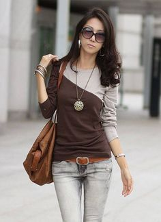 Long Sleeve Scoop Women Coffee Cotton Primer Shirt One Size @WH0384c