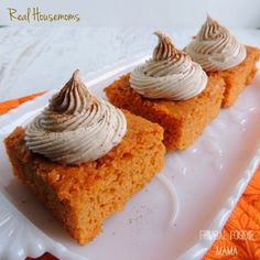 Pumpkin Pie Angel Food Cake with Cinnamon Cream Cheese Frosting via thefrugalfoodiemama.com for Real Housemoms