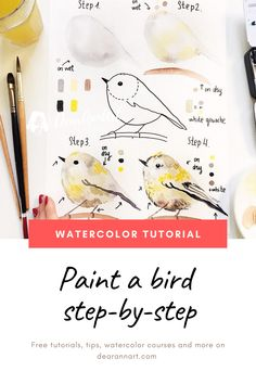 In this watercolor tutorial, you will learn how to paint a bird with watercolor. Click the image or link above to see the full art tutorial. Watercolor Beginner, Watercolor Paintings For Beginners, Watercolor Art Lessons, Watercolour Tutorials, Painting Lessons, Watercolor Techniques, Watercolor Art Paintings, Watercolor Trees, Watercolor Portraits