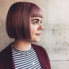 Dusty Purple One Length Bob with Blunt Bangs