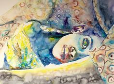 Original Watercolor Painting  Hold me. Portrait by TatyanaIlieva