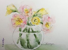 Pink Roses Yellow Lilies Original Watercolor Painting Floral