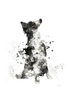 Border Collie ART PRINT Illustration, Dog, Home Decor, Wall Art, Animal                                                                                                                                                                                 More