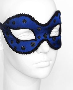 CLEARANCE SALE Navy Blue And Black Glitter Masquerade by SOFFITTA
