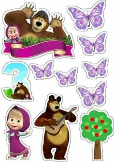 puppys first birthday Sofia The First Birthday Party, Bear Birthday, Birthday Party Themes, Masha Et Mishka, Marsha And The Bear, Princess Cupcake Toppers, Baby Shower Clipart, Birthday Clipart, Bear Theme