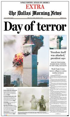 The front page of The Dallas Morning News on Sept. 11, 2001, (Extra Edition).