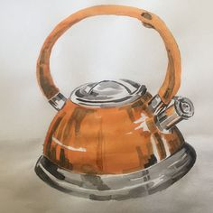 Orange metallic kettle. A bit arbitrary but just a sketch. #painting #paintings #watercolor