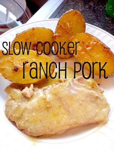 Slow Cooker Ranch Pork Recipe Ingredients Pork (cut of your choice… pork chops, pork steak, pork roast) 1 packet of dry ranch dressing 1 family size (or 2 regular cans) cream of chicken soup Instructions Place pork in slow cooker. Add cream of chicken soup on top. Add dry ranch dressing over soup. Put on low for 8 hours, stir occasionally