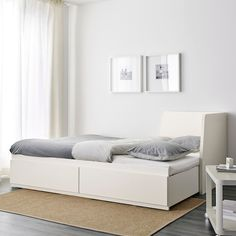 FLEKKE Day-bed frame with 2 drawers, white, Single. A sofa by day and a bed for one – or two – by night. The two large drawers give plenty of space for quilts, pillows and bed linen. Large Cushion Covers, Large Cushions, Lit Banquette 2 Places, Day Bed Frame, Cama Ikea, Sofa Daybed, Design Simples