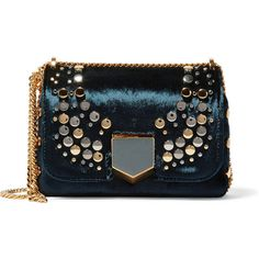 Jimmy Choo Lockett Petite embellished velvet shoulder bag (6,370 SAR) ❤ liked on Polyvore featuring bags, handbags, shoulder bags, navy handbags, jimmy choo purses, studded purse, chain strap purse and navy purse