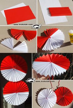 Pano için Paper Crafts For Kids, Preschool Crafts, Diy And Crafts, Arts And Crafts, Handmade Christmas Decorations, Patriotic Decorations, Independent Day, Kirigami, Indonesian Decor
