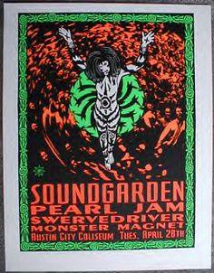 Concert Poster: Soundgarden - Pearl Jam - Swervedriver - Monster Magnet
