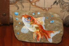 Goldfish Acrylic Painting on Rock - Stone Painting Gold Fish - Bubbles - Original painting -