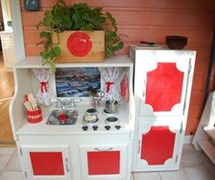 Like the white with red!! This is what Ty and I did for granddaughters in the playhouse!!!