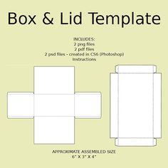 Digital Rectangle Box with Lid Templates The dpi is set to 300 and ...