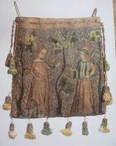 ca. 1340, Paris, France. (Reverse) Lovers playing a game with a hood in a garden. Six and 1/4 x 5 1/2 inches; topside-couched gold and silver threads on linen with silk polychrome embroidery in split, chain, stem, and knot stitches. (Color picture and some information from Camille, p. 50; additional b+w photo and further detail from Schuette and Müller-Christensen, pp. 136, 311)