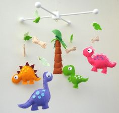 Hand crafted baby mobiles and nursery decor by FlossyTots Baby Crafts, Felt Crafts, Crafts To Make, Paper Crafts, Felt Patterns, Baby Patterns, Diy Plush Toys, Dinosaur Pattern, Mobile Art