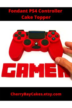 Perfect for any gamer! Measures approx 6 in across. Made in any color! Video Game Cakes, Video Game Party, Party Games, Edible Cake Toppers, Cupcake Toppers, Ps4 Cake, Edible Glue, Ps4 Controller, Fifa