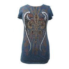 Urban X Blue T Shirt Women's Clothing Short Sleeve Top Fleur de Lis Rhinestones