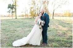 Farm wedding in Charlotte with touches of burgundy. Lace and tulle wedding dress by Stella York