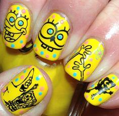 Spongebob Diy Cartoon Nail Art Funky Crazy Nails