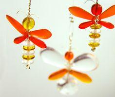 Golden Yellow Firefly Ornament Baby Mobile Glass Suncatcher Orange Butterfly Mobile Window Decor Children Hanging Mobile Australia Kids Gift (17.00 USD) by MobileSuncatchers