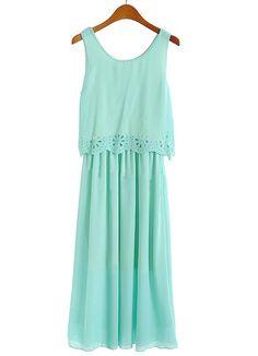 Green Sleeveless Hollow Pleated Chiffon Dress - Sheinside.com