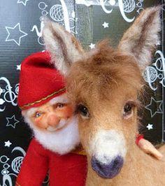 I love that donkey face! Pip's Poppies handmade wool felt dolls - adorable.