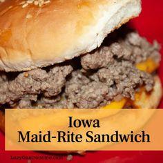 hamburger meat recipes Iowa has several iconic foods - breaded pork tenderloin, Blue Bunny ice cream, Iowa sweet corn and, the Maid Rite loose meat sandwich. Maid Rite Sandwiches, Loose Meat Sandwiches, Dinner Sandwiches, Breaded Pork Tenderloin, Pork Tenderloin Sandwich, Meat Appetizers, Appetizers For Party, Appetizer Recipes, Gourmet Recipes