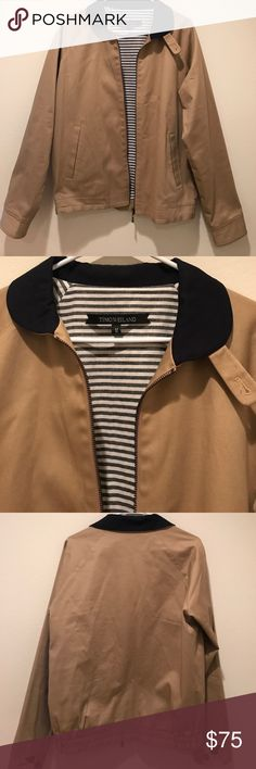 Timo weiland men's jacket Never worn tan with navy blue collar lining is black and white inside pocket premium quality easily $200 plus new Timo Weiland Jackets & Coats Bomber & Varsity