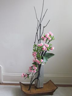 ikebana - stylized arrangement of mini carnations