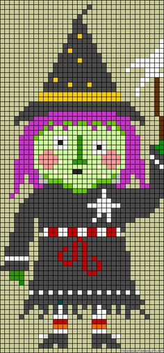 """Halloween witch perler bead pattern  This pattern can easily be converted for making """"pony bead banners"""""""