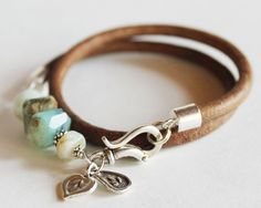 Wrap beaded bracelet bangle - opal, amazonite leather and silver bracelet