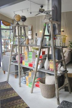 Vintage Ladder Shelving Unit How to Decorate with Vintage Ladders 20 Ways to Inspire