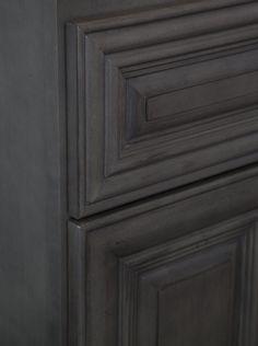 Kensington Mist (Dark Grey) raised panel cabinets for kitchen, beverage area & entertainment center.