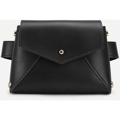 SheIn(sheinside) Flap PU Bum Bag ($13) ❤ liked on Polyvore featuring bags, black, belt bag, bum bag, polyurethane bags, flap bag and waist bag