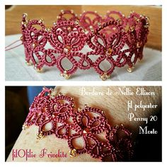 Bracelet frivolity with polyester thread. Work at a ball and a shuttle