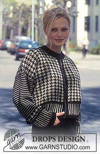DROPS jakke i Silke-tweed med grafisk pepitaruter ~ DROPS Design Drops Design, Knitting Paterns, Free Knitting, Norwegian Knitting Designs, Tweed, Skirt Patterns Sewing, Crochet Patterns, Knitted Coat, Fair Isle Knitting