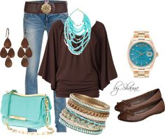 """something fun about brown and teal .. the unexpected combo"" by shauna-rogers on Polyvore"