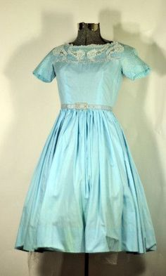 Vintage 1950's CORN FLORWER BLUE COTTON DAY DRESS Size XXS