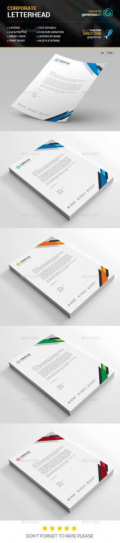 #Letterhead Vol_21 - #Stationery #Print #Templates Download here: https://graphicriver.net/item/letterhead-vol_21/12913188?ref=alena994