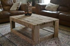 Pallet Table Plans Rustic pallet Coffee Table - Here is an example of the Unique Rustic Furniture that is unlike anything you will find in the United Arab Emirates (UAE). This Rustic Coffee Table is made Rustic Coffee Tables, Diy Coffee Table, Rustic Table, Coffee Ideas, Rustic Farmhouse, Coffee Table Made From Pallets, Rustic Wood, Distressed Wood, Coffee Table Out Of Pallets